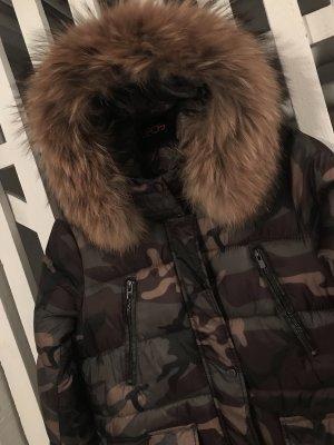 Camouflage echtfell Winterjacke Mantel