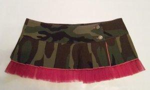 CAMOUFLAGE FALTEN ROCK oliv grün SUPER MINI Military PINK Tarnfarbe S 34 36 NEU