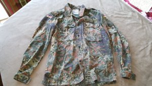 Camouflage Hemd Bluse Jacke oversized S 36 M 38 Nieten