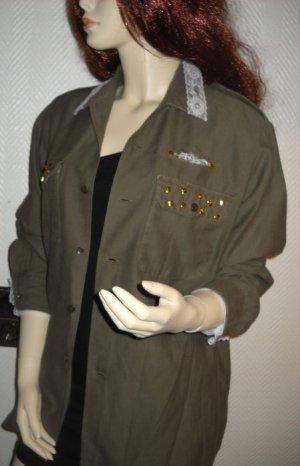 Camouflage Hemd Bluse Tunika Jacke khaki grün Niete Spitze oversize 36 38 40 H M