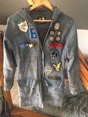 Q Berlin Manteau à capuche bleu acier-gris