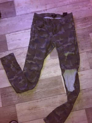 Camouflage Militär Skinny Jeans Hose ripped destroyed