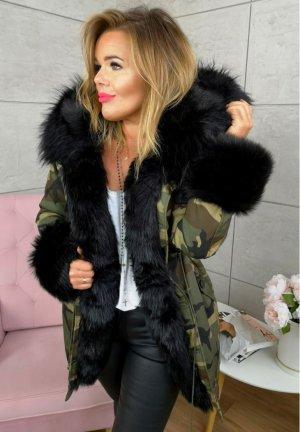 Camouflage Parka NEU ✔ Military Jacke Army Anorak Winterjacke Winterparka schwarzes Fell Kunstfellkragen XXL Kapuze 36-40