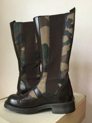 Camouflage Stiefel OXS Yoko Leder mit Elastikeinsätzen