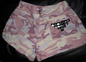 Camouflage Tarn Hot Pants Shorts rosa kurze Hose Nieten Studs silber 38 40 H M L