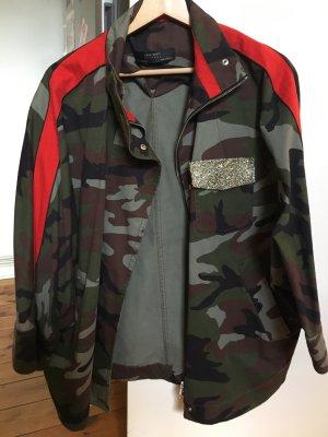 Zara Trafaluc Chaqueta militar rojo-verde oscuro
