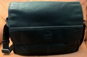 Camp David Laptop bag black-silver-colored leather