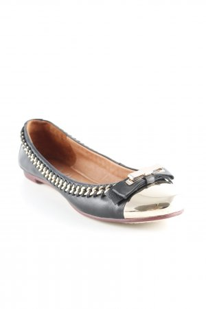Campbell Ballerinas with Toecap black-gold-colored classic style