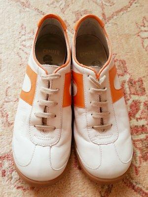 Camper Scarpa stringata bianco-arancione Pelle