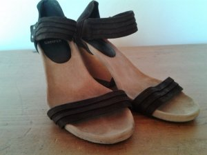 Camper High-Heeled Sandals dark brown suede