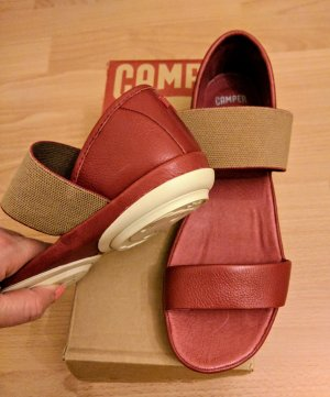 Camper Comfort Sandals dark red leather