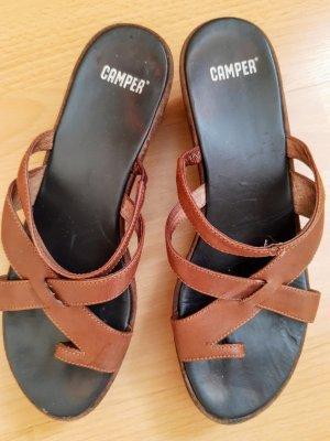 Camper Platform High-Heeled Sandal brown-bronze-colored leather