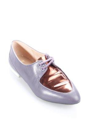 Camper Schnürschuhe grauviolett-bronzefarben Materialmix-Look