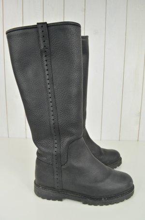 CAMPER Stiefel Boots Leder Schwarz Lochmuster Gummisohle Gr.36