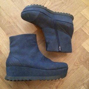 Camper Platform Booties dark blue leather