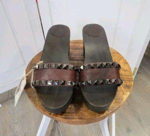 Campomaggi Leder Holz Sandalette Pantolette Neu