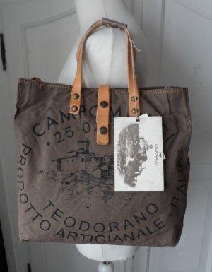 Campomaggi Shopper C1389 TEVL VMilitare Naturale Canvas Leder NEU
