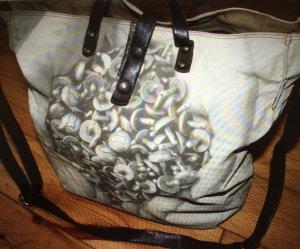 Campomaggi Shopper Nubukleder / Canvas braun-beige Shabby Vintage