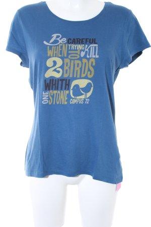 Campus by Marc O'Polo T-Shirt blau Schriftzug gedruckt Casual-Look