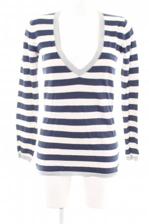 Campus by Marc O'Polo V-Neck Sweater natural white-blue striped pattern