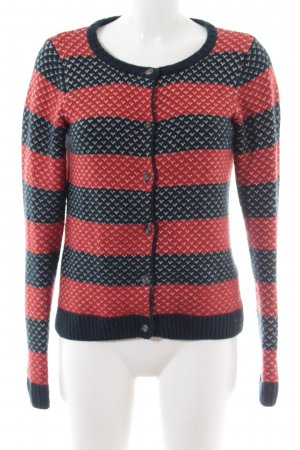 Campus Coarse Knitted Jacket black-red striped pattern casual look