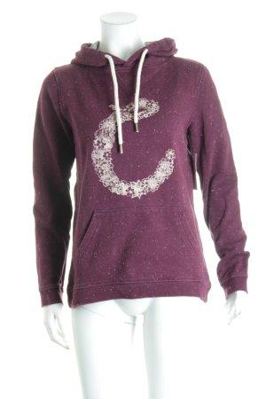 Campus Kapuzensweatshirt dunkelviolett Punktemuster sportlicher Stil