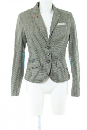 Campus Kurz-Blazer khaki-hellorange Allover-Druck Vintage-Look