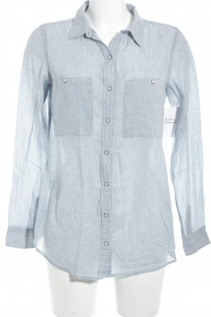 Campus Langarm-Bluse himmelblau grafisches Muster College-Look
