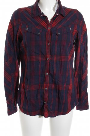 Campus Long Sleeve Shirt dark blue-brick red check pattern casual look