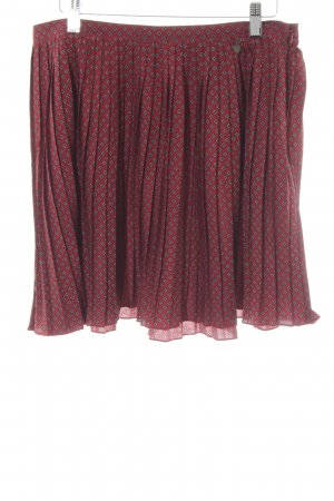 Campus Pleated Skirt dark red-dark blue flower pattern casual look