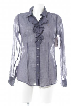 Campus Ruffled Blouse striped pattern transparent look