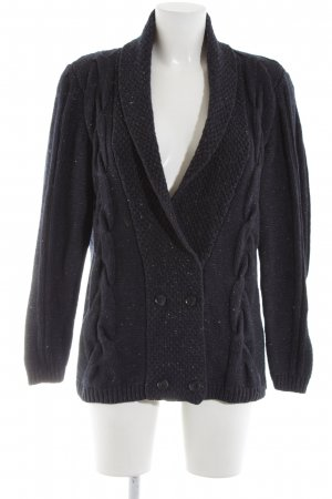 Campus Strick Cardigan schwarz Zopfmuster Casual-Look