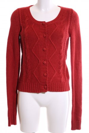 Campus Strickjacke rot Zopfmuster Casual-Look