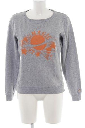 Campus Sweatshirt hellgrau-hellorange abstraktes Muster Casual-Look
