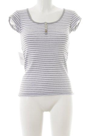 Campus T-shirt grigio chiaro-bianco motivo a righe stile casual