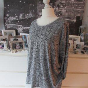 Canda * Edler Layer Pullover Rückenansicht * schwarz-weiß meliert Chiffon+Pailletten * XL=44/46 NEU