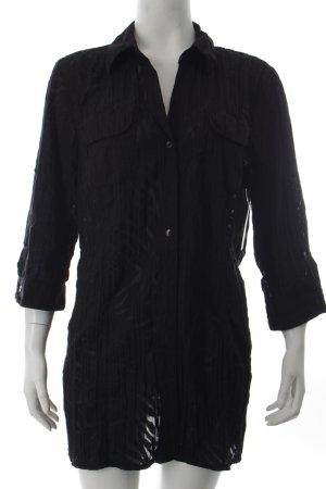 Canda Langarm-Bluse schwarz Animalmuster schlichter Stil