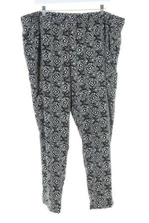 Canda Stoffhose weiß-schwarz abstraktes Muster sportlicher Stil