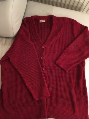 Canda Long Knitted Vest dark red mixture fibre