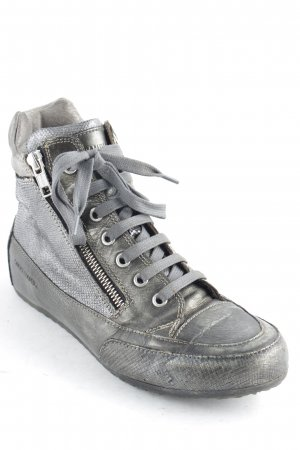 Candice Cooper High Top Sneaker silberfarben-anthrazit Metallic-Optik