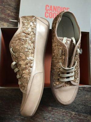 Candice Cooper Sneakers Gr. 38 Gold/ Beige Pailletten Neu NP 219€