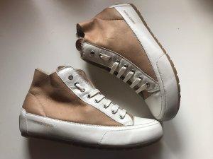 Candice Cooper Sneakers Lammfell Gr. 38 Cognac Weiß Neu NP 249€