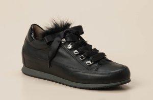 Candice Cooper Sneakers Schwarz Federn Kalbleder Gr. 38 NP 239€