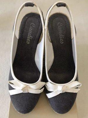 CANDIES Espandrilles Schuhe Wedges Leinen / grau weiß / Größe 37