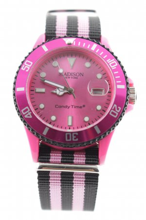 Candy Time by Madison New York Analoguhr pink-schwarz Streifenmuster Casual-Look
