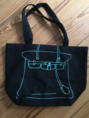 Canvas Bag Stoffbeutel Baumwollbeutel REBELLE Hermes Birkin Bag - schwarz - NEU