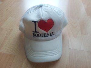 Cap Schirmmütze I Love Football weiß Fußball NEU