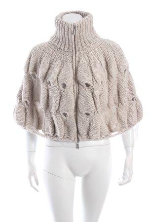 Cape beige clair motif tricoté lâche style décontracté