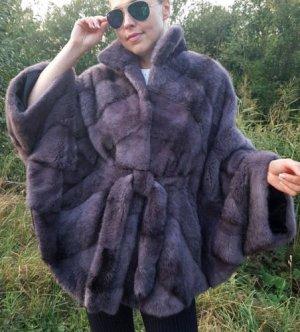 Cape NAFA Mink Nerz Poncho Iris Blue Pelz Mantel FUR Coat