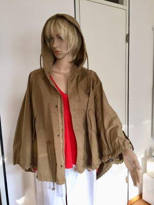 Zara Basic Cape grey brown-camel cotton